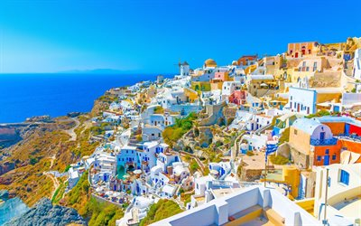 Santorini, 4k, summer, Aegean Sea, greek cities, Greece, Europe