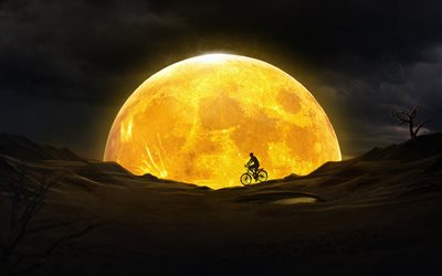 cyclist silhouette, moon, 3D art, nightscapes, desert, silhouette of cyclist