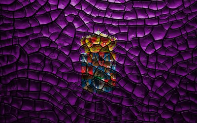 Flag of Guadalajara, 4k, spanish provinces, cracked soil, Spain, Guadalajara flag, 3D art, Guadalajara, Provinces of Spain, administrative districts, Guadalajara 3D flag, Europe
