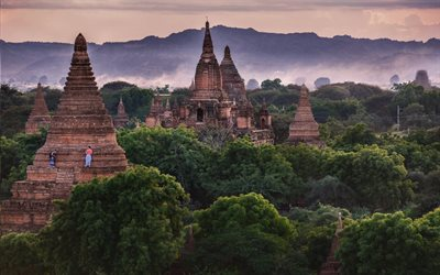 Bagan, Myanmar, temples, jungle, Burma, evening, sunset