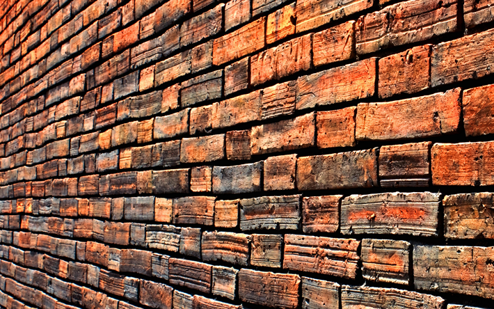 brick wall, 4k, red brick, close-up, bricks textures, bricks, brown backgrounds, wall, stone backgrounds