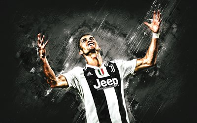 Cristiano Ronaldo, CR7, Portuguese football player, Juventus FC, white stone background, creative art, Series A, Italy, football