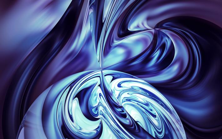 Download Wallpapers 4k, Fractals, Blue Backgrounds