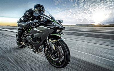 Kawasaki Ninja H2R, 2019, 4k, racing bike, Japanese sportbike, new green-black Ninja H2R, Kawasaki