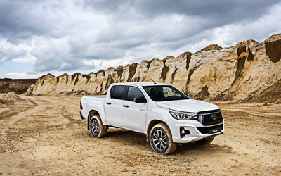 Toyota Hilux, offroad, Edición Especial, 2019 coches, blanco, camioneta, Suv, 2019 Toyota Hilux, Hilux blanca, los coches japoneses, Toyota