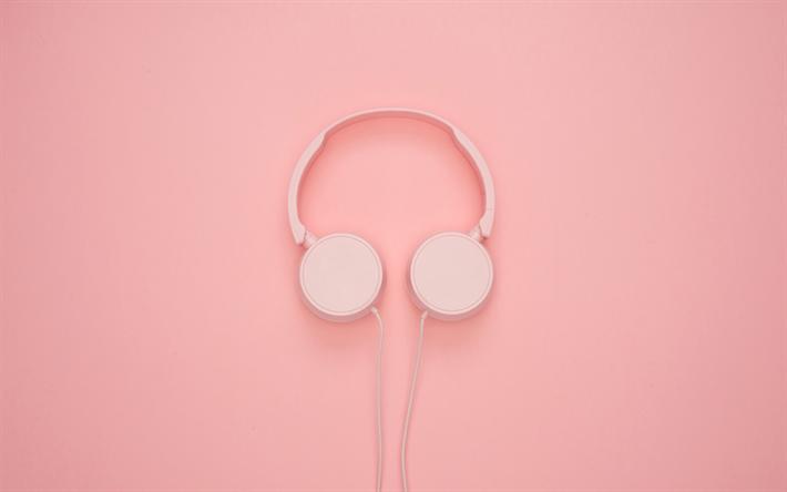 Download Wallpapers Pink Headphones 4k Minimal Pink Background Music Concepts Headphones For Desktop Free Pictures For Desktop Free