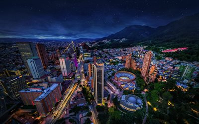 Bogota, cityscape, Colombian capital, metropolis, evening, sunset, Colombia