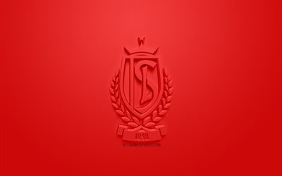 Standard Liege, creative 3D logo, red background, 3d emblem, Belgian football club, Jupiler Pro League, Liege, Belgium, Belgian First Division A, 3d art, football, stylish 3d logo