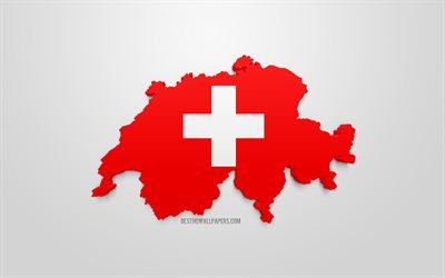3d flag of Switzerland, map silhouette of Switzerland, 3d art, Switzerland 3d flag, Europe, Switzerland, geography, Switzerland 3d silhouette