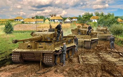 Tiger I, german heavy tank, Panzerwaffe, World War II, Panzer VI Tiger, German Army, artwork