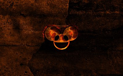 Deadmau5 fiery logo, music stars, orange stone background, Deadmau5, creative, Deadmau5 logo, brands