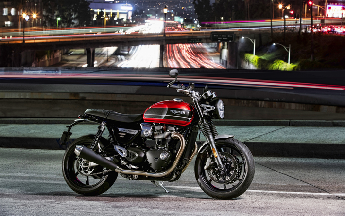 4k, Triumph Speed Twin, vista lateral, 2019 motos, sbk, clássico roadster, 2019 Triumph Speed Twin, britânica de motocicletas, Triunfo