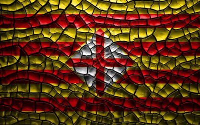 Flag of Barcelona, 4k, spanish provinces, cracked soil, Spain, Barcelona flag, 3D art, Barcelona, Provinces of Spain, administrative districts, Barcelona 3D flag, Europe