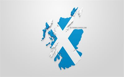 3d flag of Scotland, map silhouette of Scotland, 3d art, Scotland 3d flag, Europe, Scotland, geography, Scotland 3d silhouette