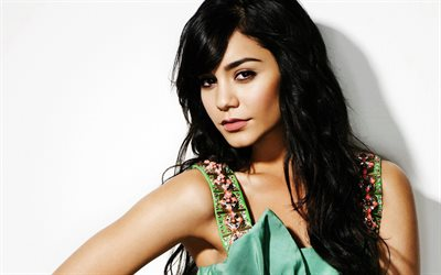 Vanessa Hudgens, portrait, american actress, green dress, beautiful woman, photoshoot