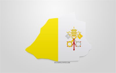 3d flag of Vatican City, map silhouette of Vatican City, 3d art, Vatican City 3d flag, Europe, Vatican City, geography, Vatican 3d silhouette