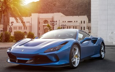 Ferrari F8 Tributo, 2019, blue supercar, front view, new blue F8 Tributo, italian cars, Ferrari