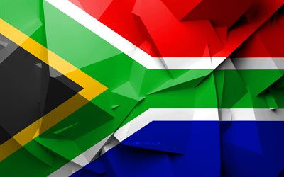 4k, Flag of South Africa, geometric art, African countries, South African flag, creative, South Africa, Africa, South Africa 3D flag, national symbols