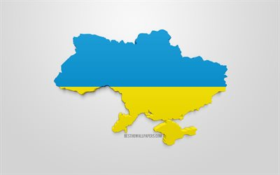 3d flag of Ukraine, map silhouette of Ukraine, 3d art, Ukraine 3d flag, Europe, Ukraine, geography, Ukraine 3d silhouette