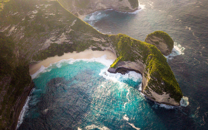 harbor, paradise, sea, aerial view, summer, waves, beautiful nature
