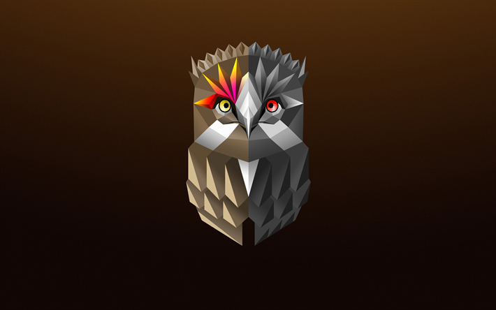 abstract owl, 4k, minimal, low poly art, cartoon owl, brown background, owl