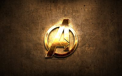 Avengers golden logo, 2019 movie, artwork, brown metal background, creative, Avengers logo, brands, Avengers