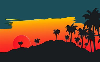 sunset, 4k, palm trees silhouette, palm trees, moon, abstract landscapes, silhouette of palms