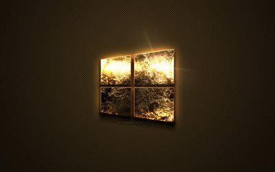 Windows 10 gold logo, creative art, gold texture, brown carbon fiber texture, Windows 10 gold emblem, Windows