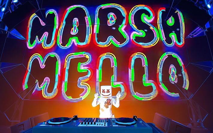 Marshmello sur scène, œuvres d'art, Fortnite Battle Royale, 2019 jeux, Marshmello, club de nuit, Fortnite, Marshmello Fortnite