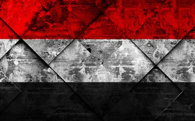 Flag of Yemen, 4k, grunge art, rhombus grunge texture, Yemen flag, Asia, national symbols, Yemen, creative art