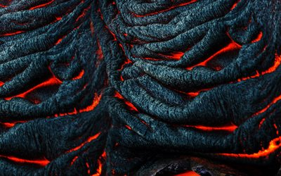 burning lava, macro, lava texture, red-hot lava, black background, lava
