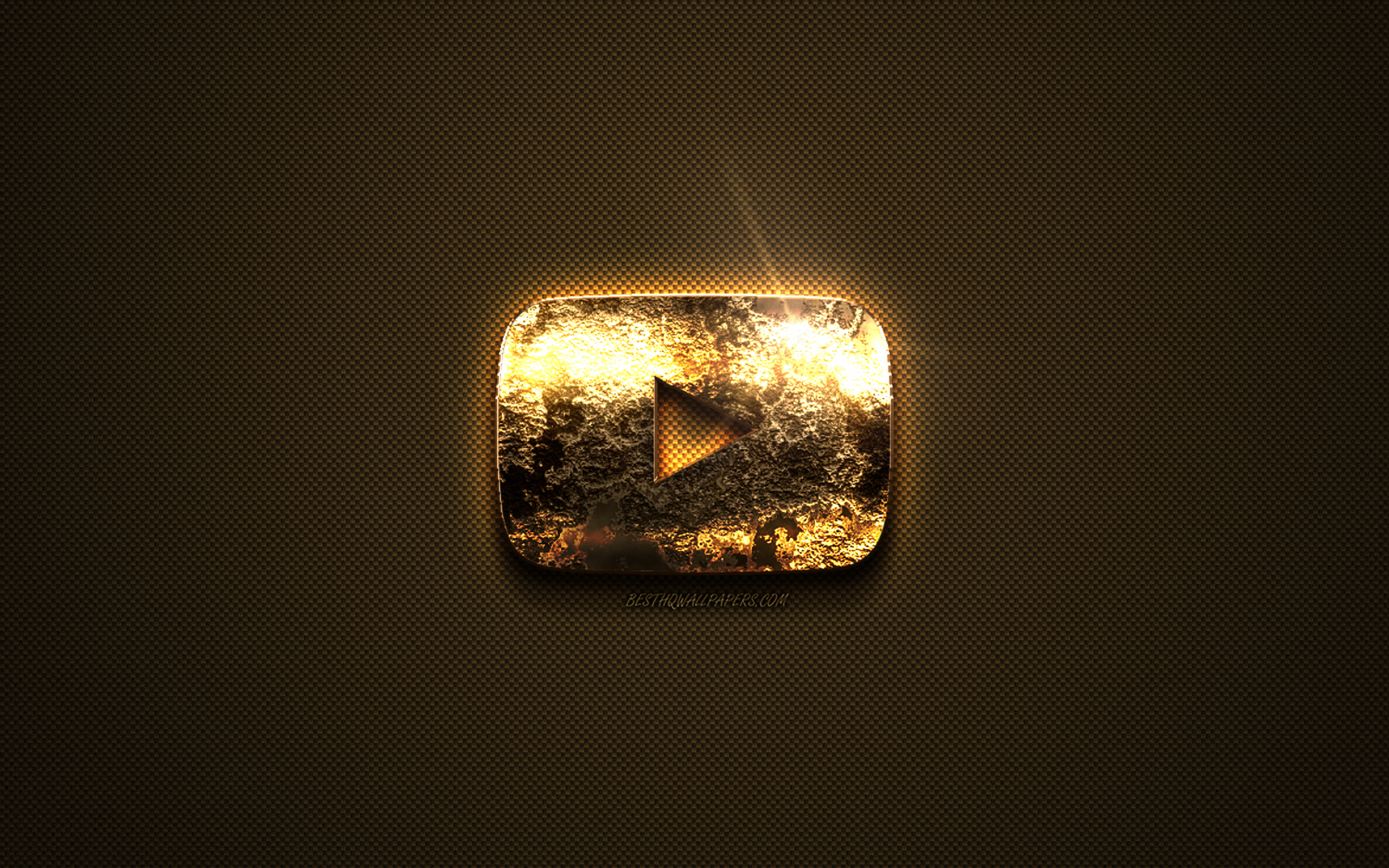 YouTube gold logo, creative art, gold texture, brown carbon fiber texture, YouTube gold emblem, YouTube