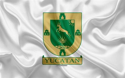 Flag of Yucatan, 4k, silk flag, Mexican state, Yucatan flag, coat of arms, silk texture, Yucatan, Mexico