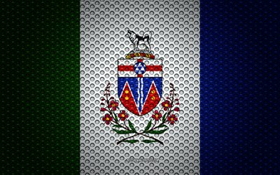 Flag of Yukon, 4k, creative art, metal mesh texture, Yukon flag, national symbol, provinces of Canada, Yukon, Canada, North America