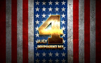 Independence Day, July 4, golden signs, Fourth of July, american national holidays, USA, US national holidays, America, Happy Fourth of July