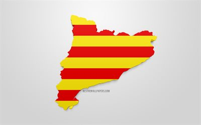 3d flag of Catalonia, map silhouette of Catalonia, autonomous community, 3d art, Catalonia 3d flag, Spain, Europe, Catalonia, geography, Catalonia 3d silhouette