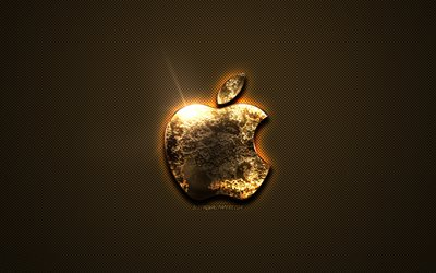 Apple gold logo, creative art, gold texture, brown carbon fiber texture, Apple gold emblem, Apple