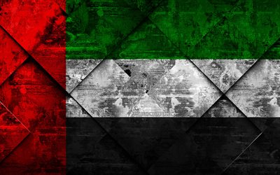 Flag of United Arab Emirates, 4k, grunge art, rhombus grunge texture, UAE flag, Asia, national symbols, United Arab Emirates, creative art