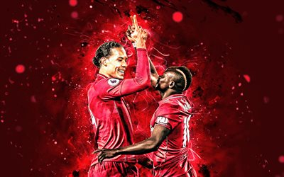 4k, Virgil van Dijk, Sadio Mane, Liverpool FC, goal, LFC, footballers, Premier League, Van Dijk and Mane, soccer, football