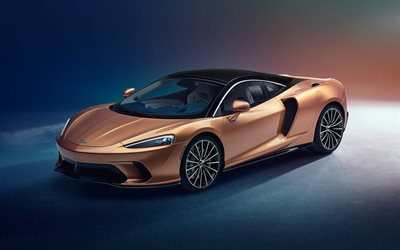 2020, McLaren GT, 4k, front view, new supercar, bronze sports coupe, British sports cars, McLaren