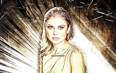 4k, Rose McIver, grunge art, New Zealand celebrity, movie stars, beauty, Frances Rose McIver, brown abstract rays, New Zealand actress, Rose McIver 4K