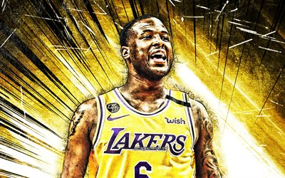 4k, Dion Waiters, grunge art, NBA, Los Angeles Lakers, basketball stars, Waiters, yellow abstract rays, basketball, LA Lakers, creative, Dion Waiters Lakers