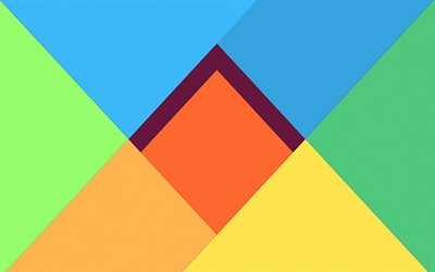 rhombuses, triangles, 4k, android, creative, lollipop, geometric shapes, material design, geometry, colorful backgrounds, abstract art