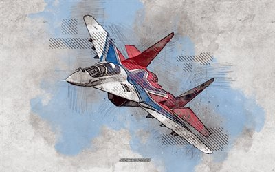 MiG-29, Fulcrum, grunge art, creative art, painted MiG-29, drawing, MiG-29 abstraction, digital art, grunge military aircraft, Russian fighter