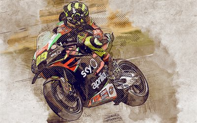 Andrea Iannone, grunge art, Aprilia Racing Team Gresini, creative art, painted Andrea Iannone, drawing, MotoGP, Aprilia RS-GP, grunge sport bike