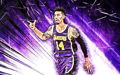 4k, Danny Green, violet abstract rays, NBA, Los Angeles Lakers, basketball stars, grunge art, basketball, LA Lakers, creative, Danny Green Lakers, Danny Green 4K
