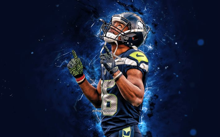 Download Wallpapers Tyler Lockett 4k Wide Receiver Seattle Seahawks American Football Nfl Russell Carrington Wilson National Football League Neon Lights Tyler Lockett Seattle Seahawks Tyler Lockett 4k For Desktop Free Pictures For