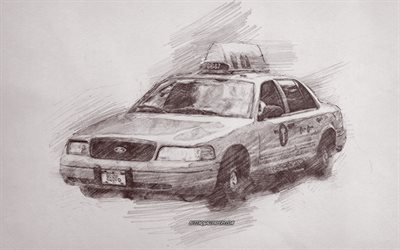 Drawn taxi, New York Taxi, New York City, USA, Taxi pencil drawing, pencil art, american taxi
