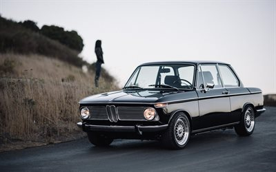 BMW 2002, E10, retro bilar, svart coupe, retro BMW, Tyska bilar, BMW