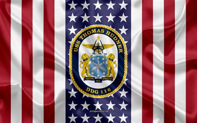 USS Thomas Hudner Emblem, DDG-116, American Flag, US Navy, USA, USS Thomas Hudner Badge, US warship, Emblem of the USS Thomas Hudner